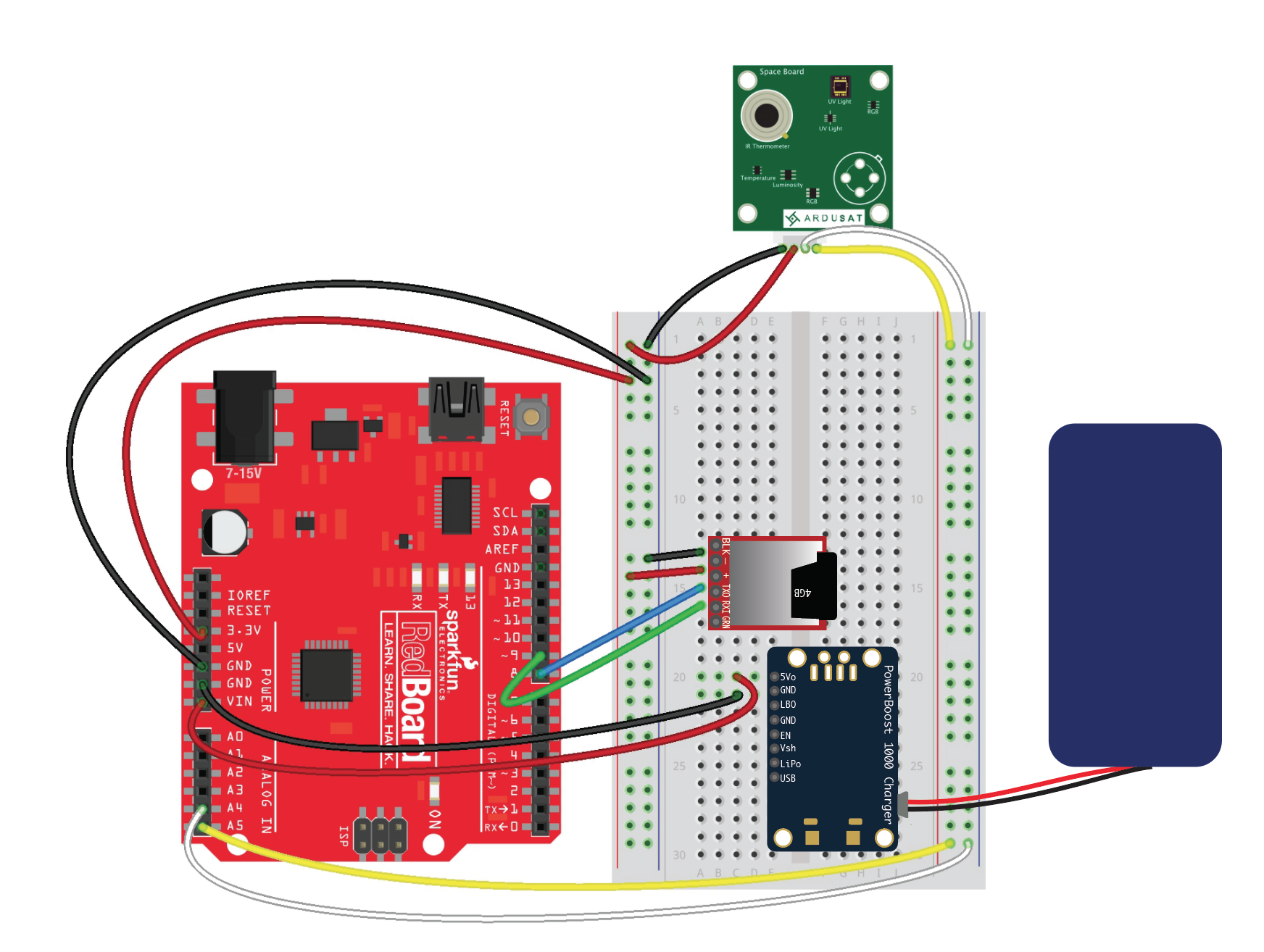 Because Learning Arduino Sd Card Wiring Here The Sensor Board And Powerboost Are Shown Connected From Breadboard To Insert